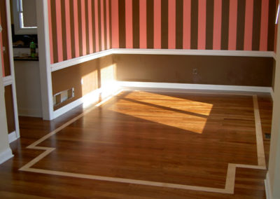 Buckeye Hardwood had nothing to do with the walls--but we did design the accent stripe and floor