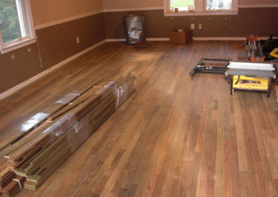 Hardwood flooring laid and readied for sanding and finishing