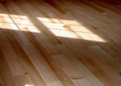 """Hickory--what some call a """"checkerboard floor""""--very blonde boards sprinkled in with very chocolate boards"""