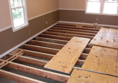 "Installation of ¾"" plywood sub-floor"