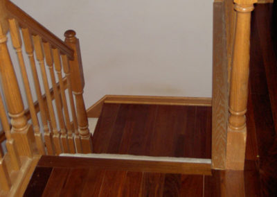 Ipe (Brazilian walnut) landing next to a red oak stair system in Orient, Ohio