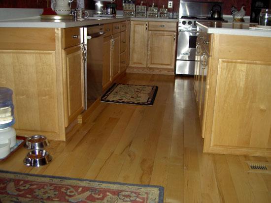 Maple Hardwood Flooring Site Finished Alongside Kitchen Cabinets