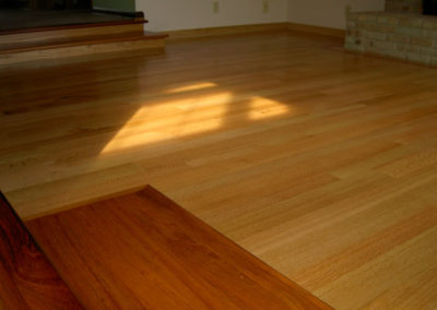 Site finished hardwood floor with a two-component VOC compliant finish