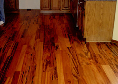 Site finished hardwood floors in a kitchen--all the time