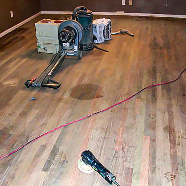 Hardwood Floor Refinishing Worksite